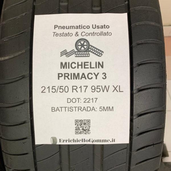 2 Pneumatici Usati 215/50 R17 95W XL MICHELIN 5MM - Testati & Controllati