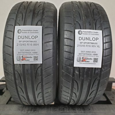 215/45 R16 86H 90V XL Dunlop SP Sportmaxx – 70% 50% +6-4mm – Gomme Estive