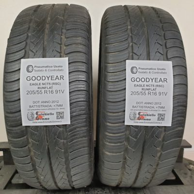 205/55 R16 91V Goodyear Eagle NCT5 (RSC) Runflat – 90% +7mm – Gomme Estive