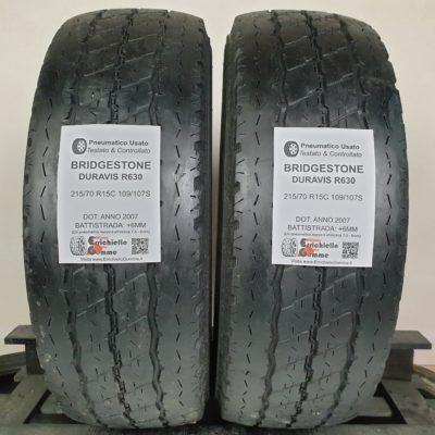 215/70 R15C 109/107S Bridgestone Duravis R630 – 70% +6mm – Gomme Trasporto Estive