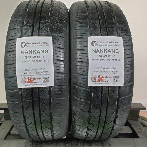 195/60 R16C 99/97T M+S Nankang Snow SL-6 – 70% +6mm – Gomme Invernali Trasporto