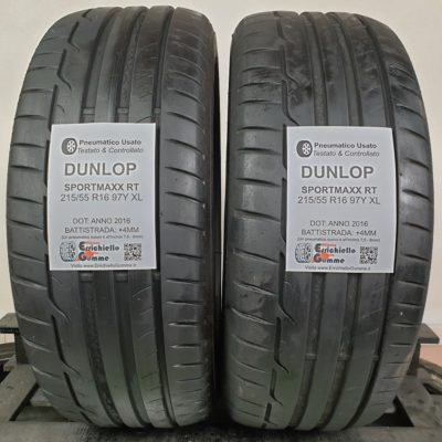 215/55 R16 97Y XL Dunlop SportMaxx RT – 50% +4mm – Gomme Estive