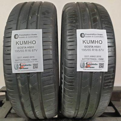 195/55 R16 87V Kumho Ecsta HS51 – 60% +5mm – Gomme Estive