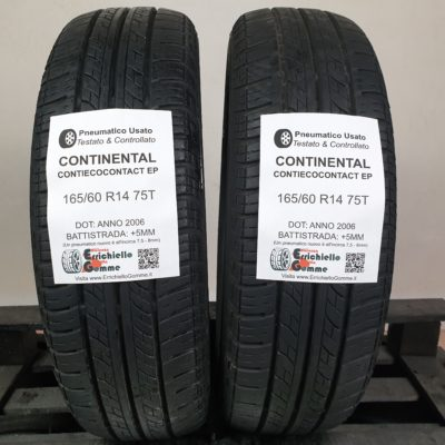 165/60 R14 75T Continental ContiEcoContact EP – 60% +5mm – Gomme Estive