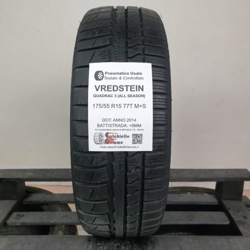 175/55 R15 77T M+S Vredstein Quadra 3 (All Season) – 70% +6mm – Gomme 4 Stagioni