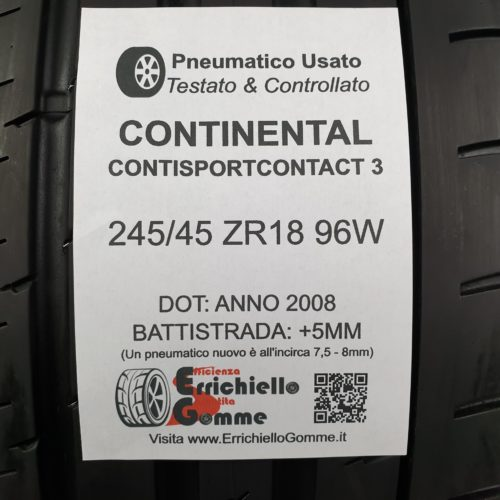 245/45 ZR18 96W Continental ContiSportContact 3 – 60% +5mm – Gomme Estive