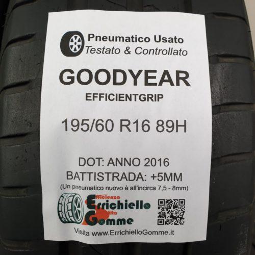195/60 R16 89H Goodyear EfficientGrip – 60% +5mm – Gomme Estive