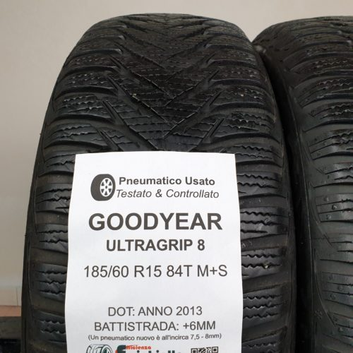 185/60 R15 84T M+S Goodyear UltraGrip 8 – 70% +6mm – Gomme Invernali