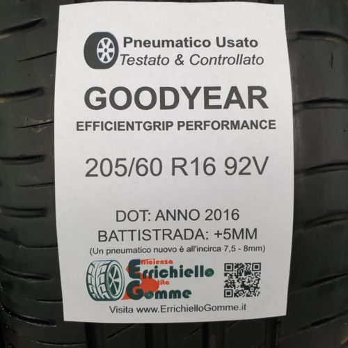 205/60 R16 92V Goodyear EfficientGrip Performance – 60% +5mm – Gomme Estive