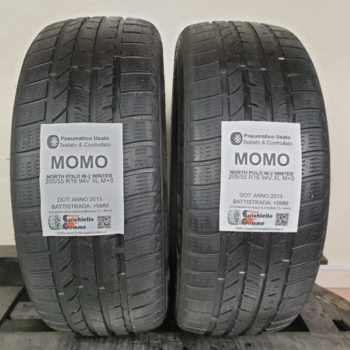 205/55 R16 94V XL M+S Momo North Polo W-2 Winter – 60% +5mm – Gomme Invernali