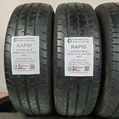 195/65 R16C 104/102R M+S 8PR Rapid Effivan – 60% +5mm – Gomme Trasporto 4 Stagioni