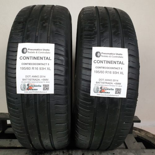 195/60 R16 93H XL Continental ContiEcoContact 5 – 60% +5mm – Gomme Estive