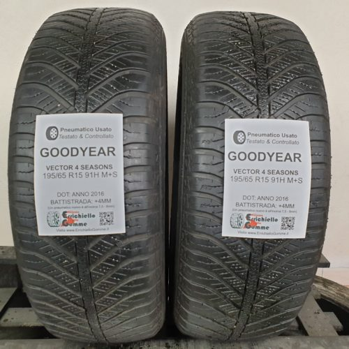 195/65 R15 91H M+S Goodyear Vector 4 Seasons – 50% +4mm Gomme 4 Stagioni