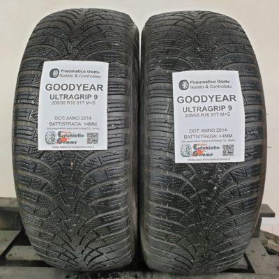205/55 R16 91T M+S Goodyear UltraGrip 9 – 50% +4mm Gomme Invernali