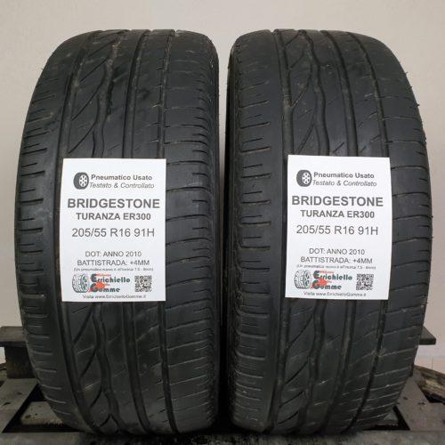 205/55 R16 91H Bridgestone Turanza ER300 – 50% +4mm Gomme Estive