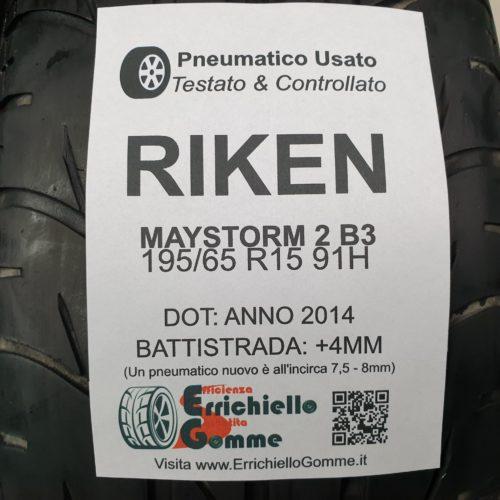 195/65 R15 91H Riken Maystorm 2 B3 – 50% +4mm Gomme Estive
