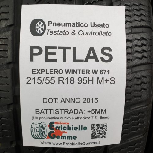 215/55 R18 95H M+S Petlas Explero Winter W 671 – 60% 5mm – Gomme Invernali