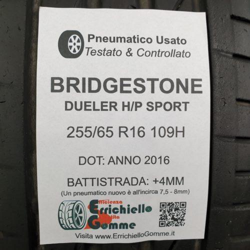 255/65 R16 109H Bridgestone Dueler H/P Sport – 50% 4mm – Gomme Estive