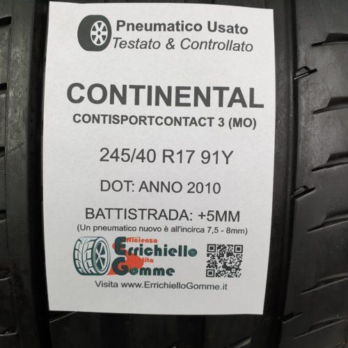 245/40 R17 91Y Continental ContiSportContact 3 (MO) – 60% +5mm – Gomme Estive