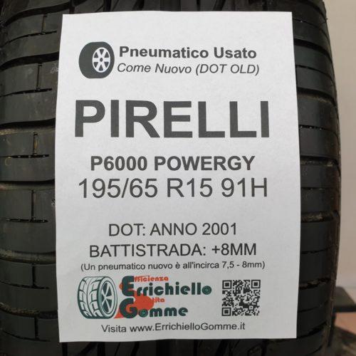 195/65 R15 91H Pirelli P6000 Powergy – 100% +8mm Gomme Estive