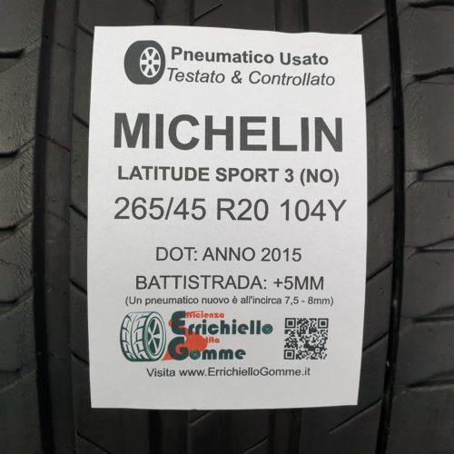 265/45 R20 104Y Michelin Latitude Sport 3 (NO) – 60% +5mm Gomma Estiva