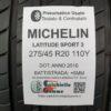 275/45 R20 110Y Michelin Latitude Sport 3 – 70% +6mm Gomma Estive