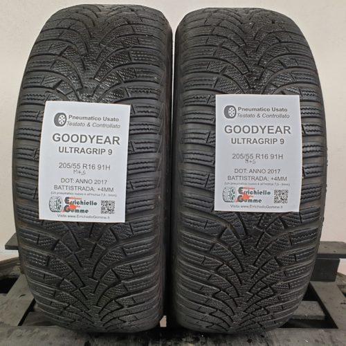 205/55 R16 91H M+S Goodyear UltraGrip 9 – 50% +4mm – Gomme Invernali