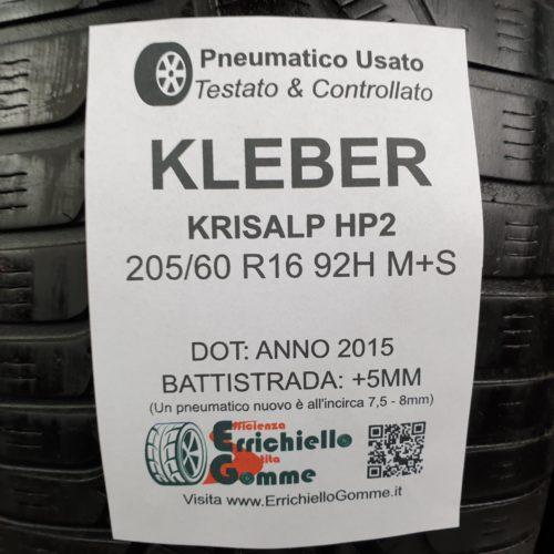 205/60 R16 92H M+S Kleber Krisalp HP2 – 60% +5mm Gomme Invernali