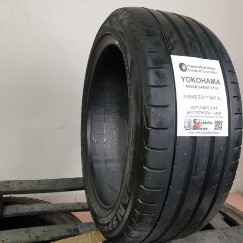 225/45 ZR17 94Y XL Yokohama Advan Sport V105 – 60% +5mm – Gomma Estiva