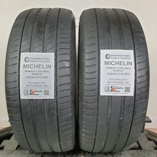 245/45 R19 99Y Michelin Primacy 3 (ZP) (RSC) Runflat – 50% +4mm – Gomme Estive