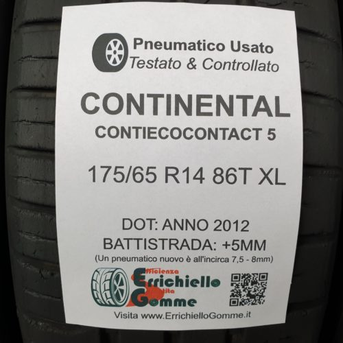 175/65 R14 86T Continental ContiEcoContact 5 – 60% +5mm – Gomme Estive