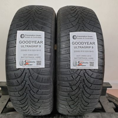 205/60 R16 92H M+S Goodyear UltraGrip 9 –  50% +4mm – Gomme Invernali