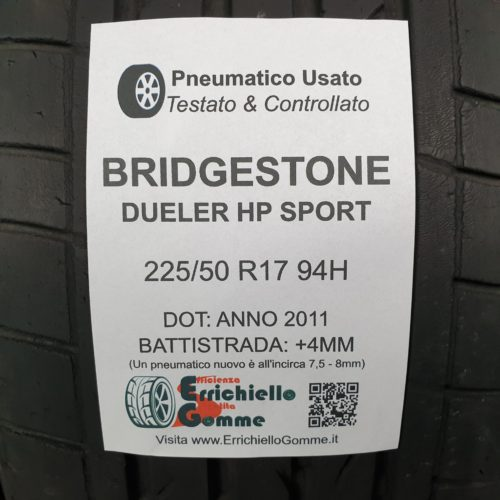 225/50 R17 94H Bridgestone Dueler H/P Sport – 50% +4mm – Gomme Estive
