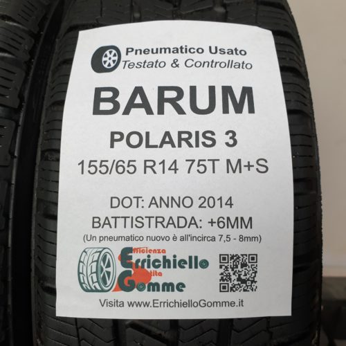 155/65 R14 75T M+S Barum Polaris 3 – 70% +6mm – Gomme Invernali