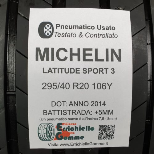 295/40 R20 106Y Michelin Latitude Sport 3 – 60% +5mm – Gomme Estive