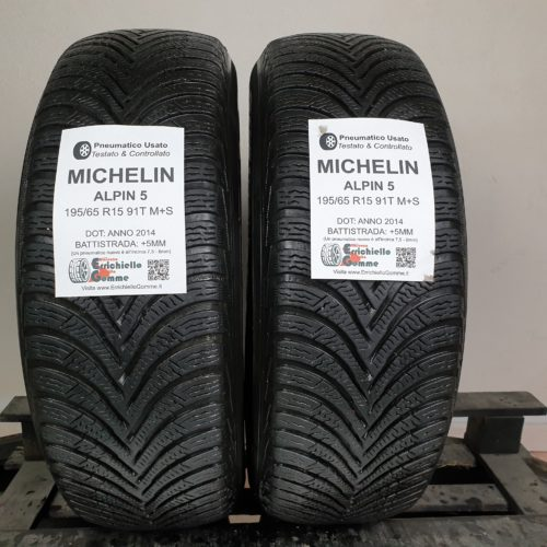 195/65 R15 91T M+S Michelin Alpin 5 – 60% +5mm Gomme Invernali