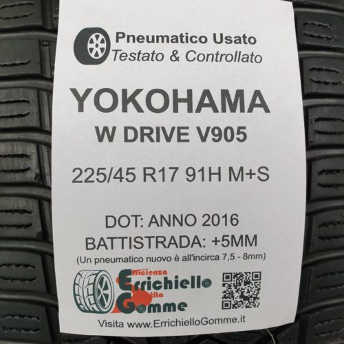 225/45 R17 91H M+S Yokohama W Drive V905  – 60% +5mm Gomme Invernali