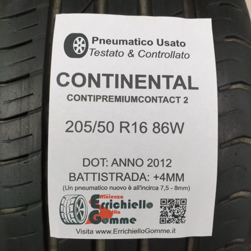 205/50 R16 86W Continental ContiPremiumContact 2  – 50% +4mm – Gomme Estive