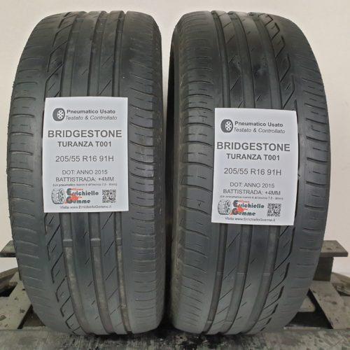 205/55 R16 91H Bridgestone Turanza T001  – 50% +4mm – Gomme Estive