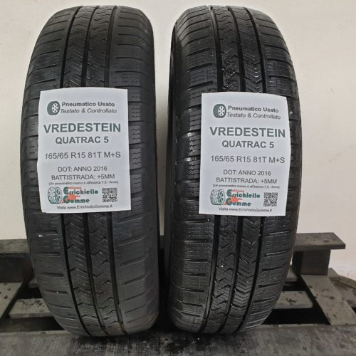 165/65 R15 81T M+S Vredstein Quatrac 5 –  60% +5mm – Gomme 4 Stagioni