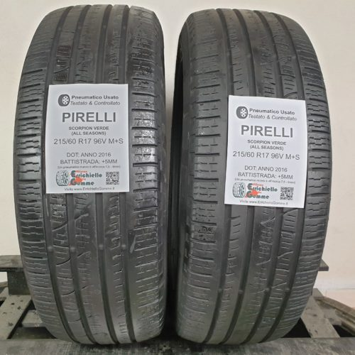 215/60 R17 96V M+S Pirelli Scorpion Verde (All Seasons) –  60% +5mm Gomme 4 Stagioni