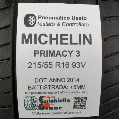 215/55 R16 93V Michelin Primacy 3 – 60% +5mm – Gomme Estive