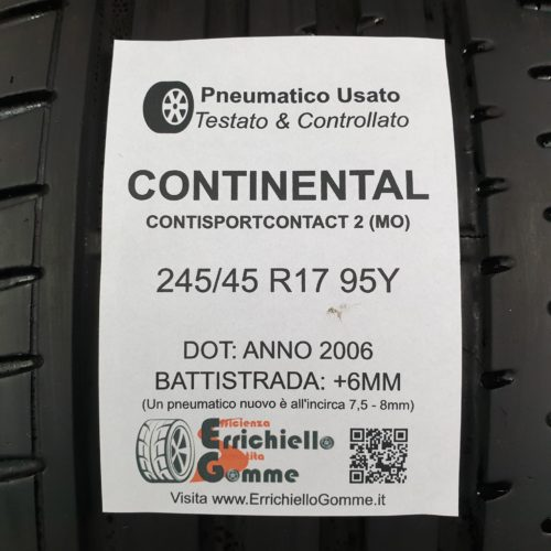 245/45 R17 95Y Continental SportContact 2 (MO) – 70% +6mm – Gomma Estiva