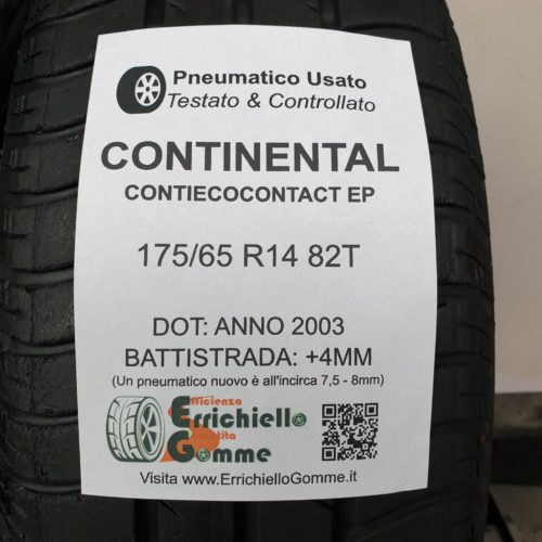 175/65 R14 82T Continental ContiEcoContact EP  – 50% +4mm Gomme Estive