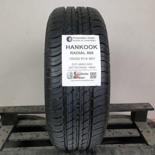 195/60 R14 86V Hankook Radial 866 –  100% +8mm – Gomma Estiva