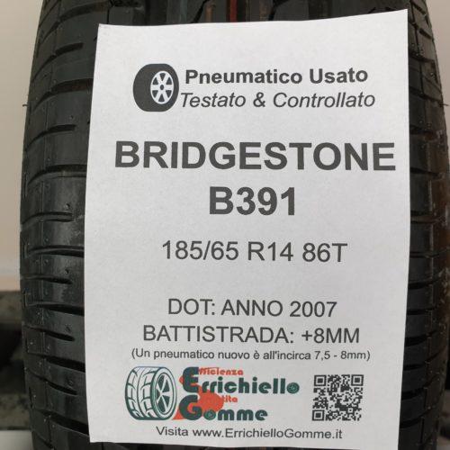 185/65 R14 86T Bridgestone B391 – 100% +8mm – Gomma Estiva