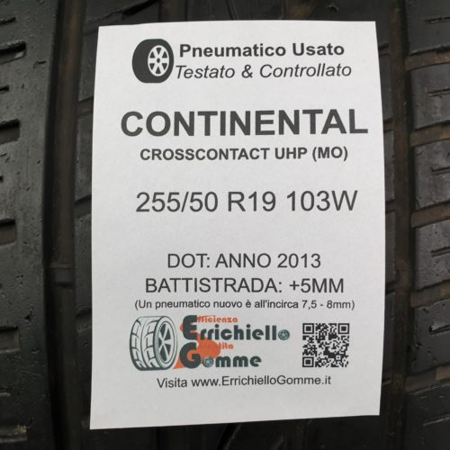 255/50 R19 103W Continental CrossContact UHP (MO)  –  60% +5mm – Gomma Estiva