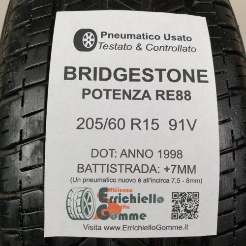 205/60 R15 91V Bridgestone Potenza RE88  – 90% +7mm Gomma Estiva