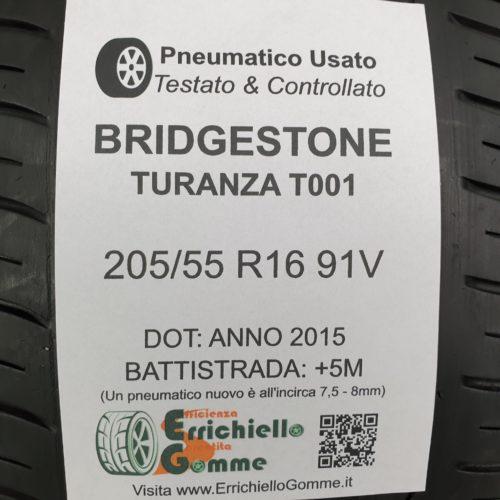 205/55 R16 91V Bridgestone Turanza T001 –  60% +5mm – Gomme Estive