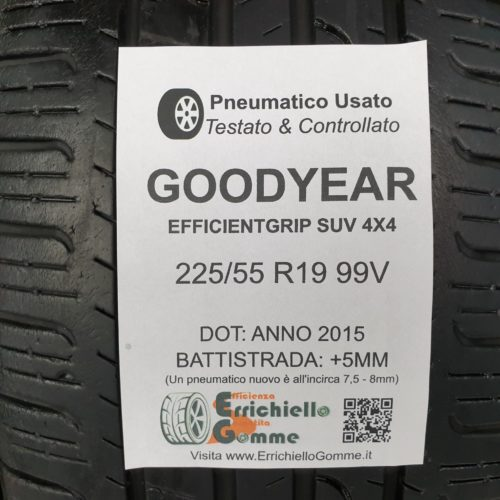 225/55 R19 99V Goodyear EfficientGrip SUV 4×4  – 60% +5mm Gomme Estive
